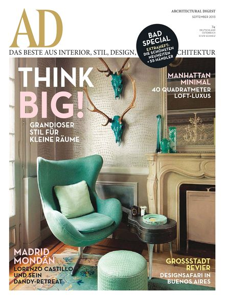 download ad architectural digest germany september 2013 pdf magazine. Black Bedroom Furniture Sets. Home Design Ideas
