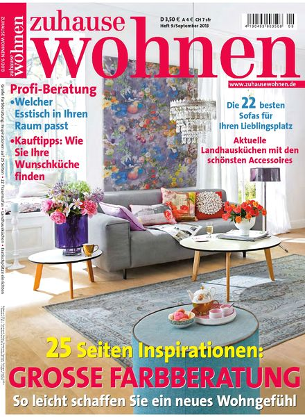 download zuhause wohnen september 2013 pdf magazine. Black Bedroom Furniture Sets. Home Design Ideas