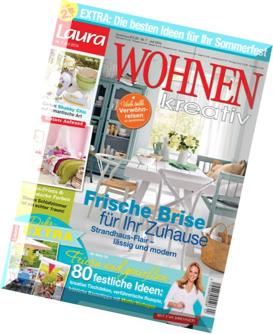 download laura wohnen kreativ wohnmagazin juli 07 2014. Black Bedroom Furniture Sets. Home Design Ideas