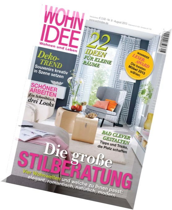 download wohn idee wohnen und leben magazin n 08 2013 pdf magazine. Black Bedroom Furniture Sets. Home Design Ideas