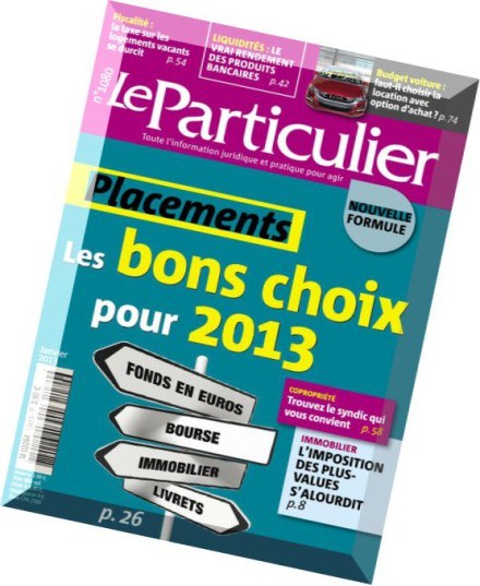 download le particulier n 1080 janvier 2013 pdf magazine. Black Bedroom Furniture Sets. Home Design Ideas
