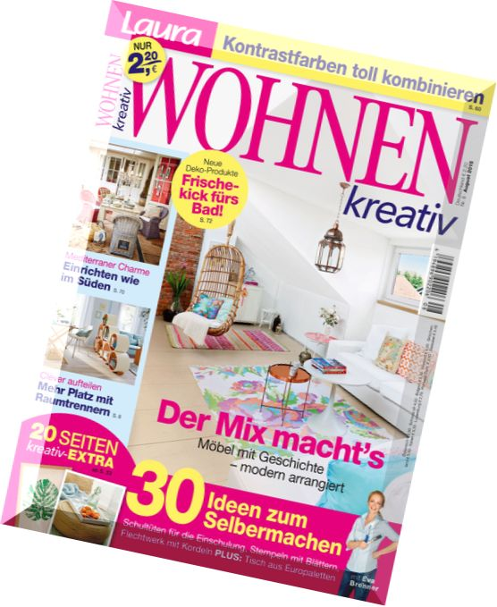 download laura wohnen kreativ august 2015 pdf magazine. Black Bedroom Furniture Sets. Home Design Ideas
