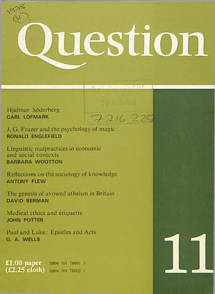New Humanist – Question, June 1978