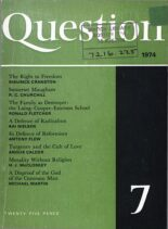 New Humanist – Question, January 1974