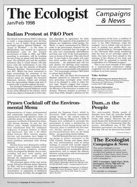 Resurgence & Ecologist – Campaigns & News January-February 1998