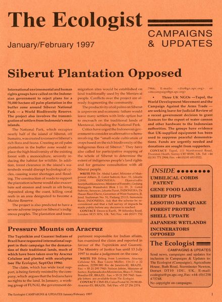 Resurgence & Ecologist – Campaigns & News January-February 1997