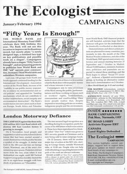 Resurgence & Ecologist – Campaigns Vol 24 N 1 – January-February 1994